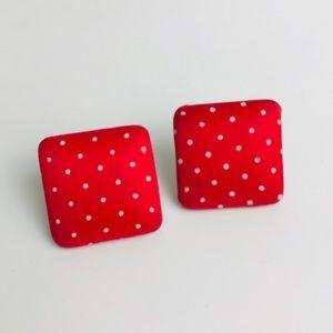 Vintage Square Earrings 80s 90s Polka Dot Red VTG